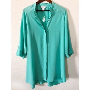 Soft Surroundings Seafoam Green Button Up Tunic